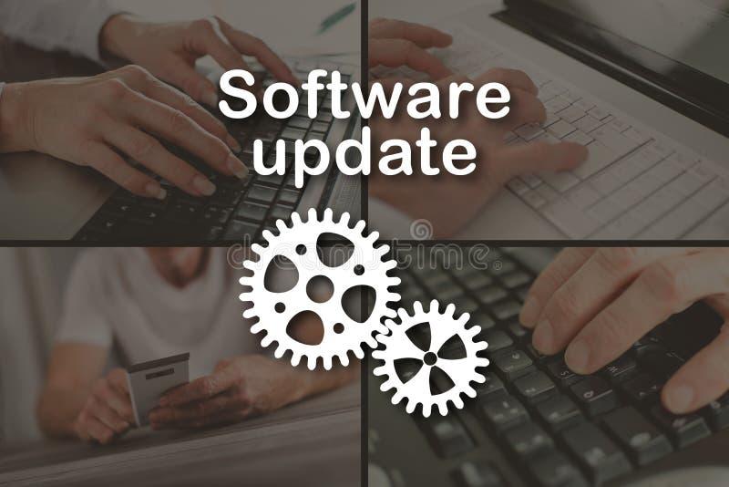 Begrepp av programuppdateringen arkivfoto