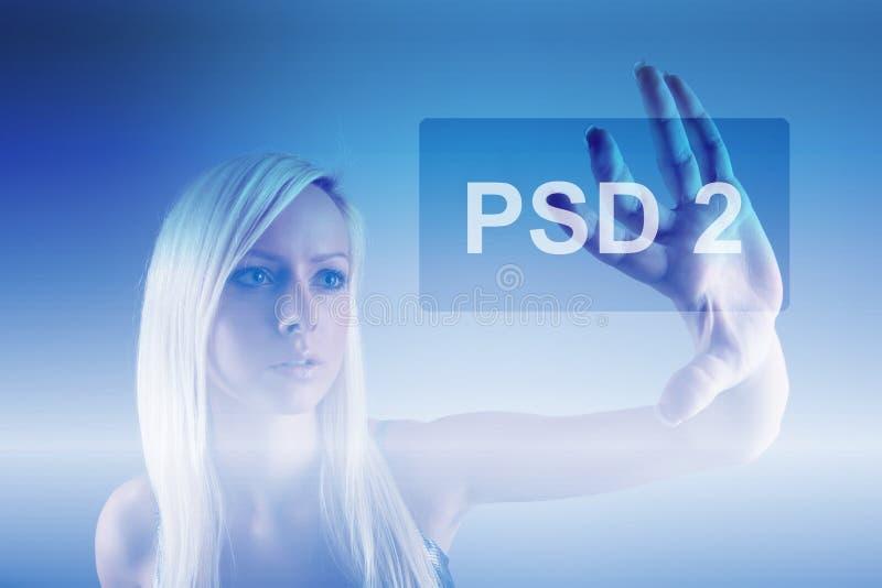 Begrepp av PSD2 - betalning servar direktiv arkivfoto