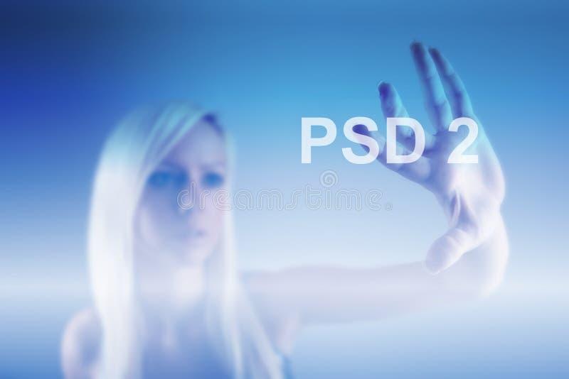 Begrepp av PSD2 - betalning servar direktiv royaltyfria bilder