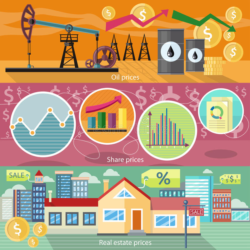 Begrepp av Real Estate prisolja och aktier vektor illustrationer