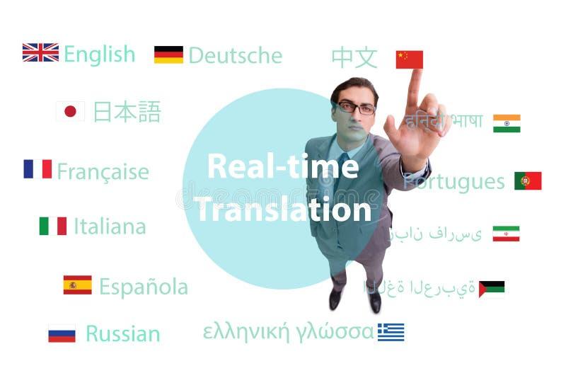 Begrepp av realtidsöversättningen från utländskt språk arkivbilder