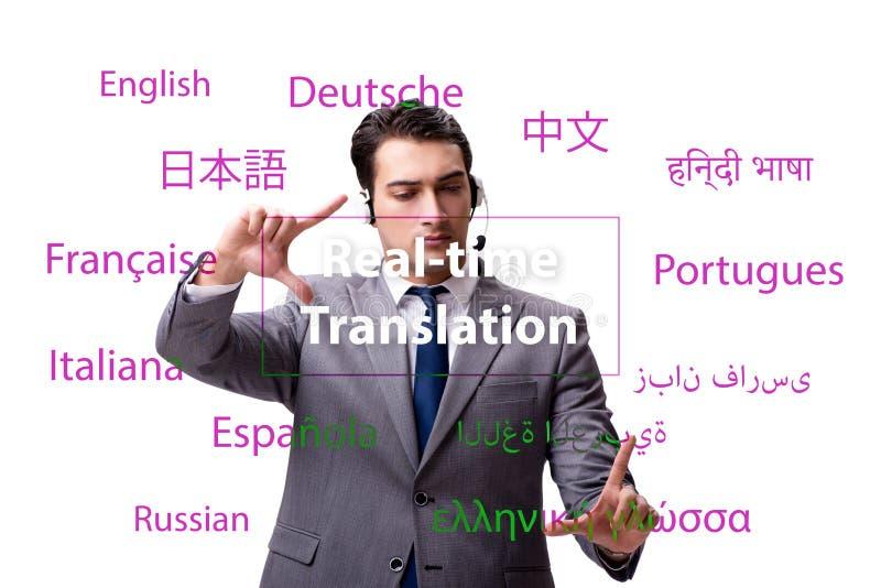 Begrepp av realtidsöversättningen från utländskt språk royaltyfri fotografi