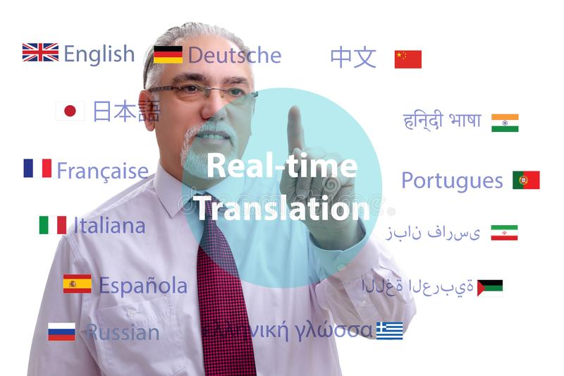 Begrepp av realtidsöversättningen från utländskt språk fotografering för bildbyråer