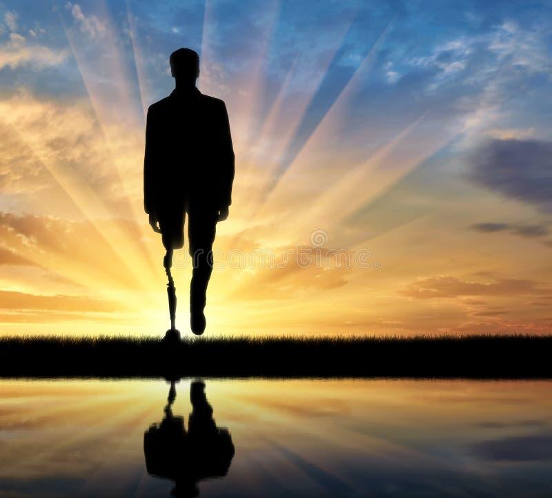 Begrepp av rehabilitering av invalids med prosthetic ben arkivfoto