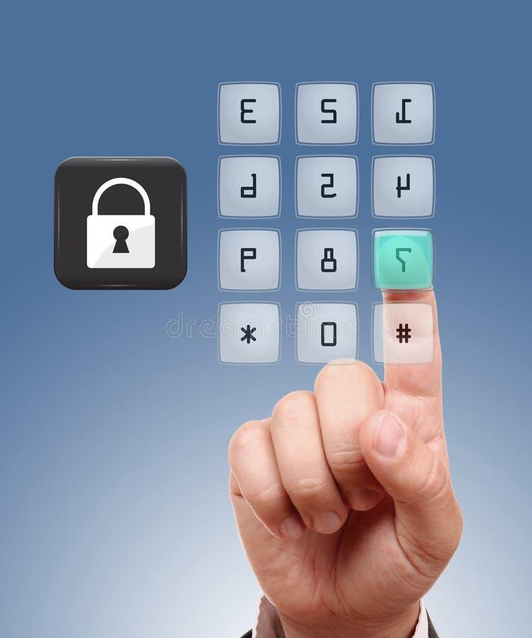 Begrepp av säkerhet i netto. arkivbild