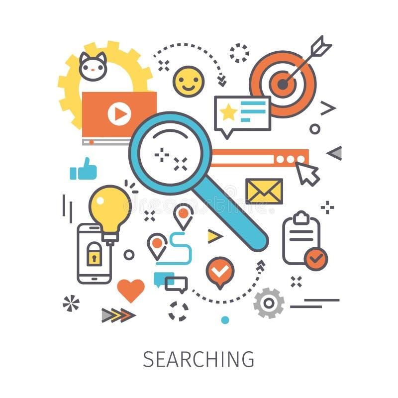Begrepp av sökande stock illustrationer