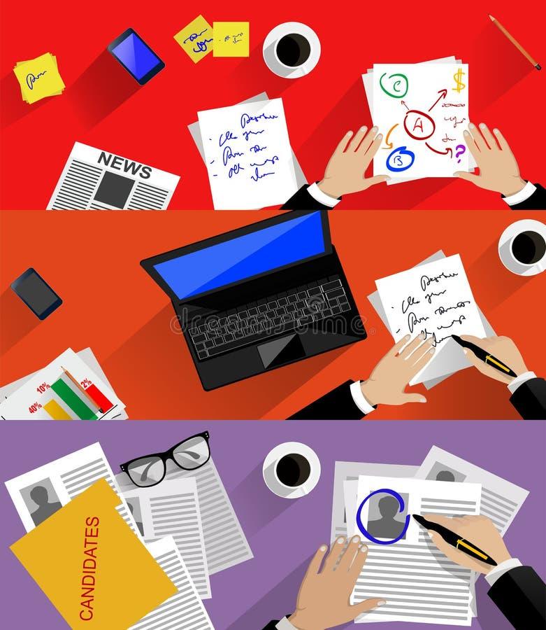 Begrepp av sökande av den yrkesmässiga personalen som analyserar stock illustrationer