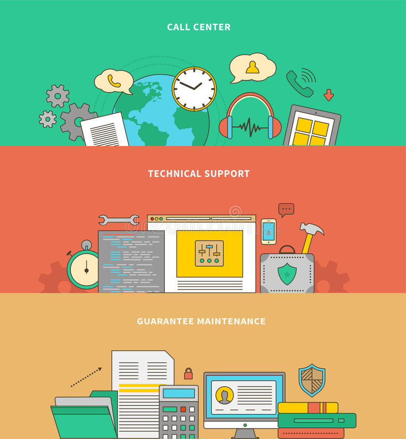 Begrepp av service- och garantiservice royaltyfri illustrationer