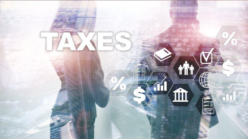Begrepp av skatter som betalas av individer och korporationer liksom vat-, inkomst- och rikedomskatt Skattbetalning Statliga skat royaltyfri foto