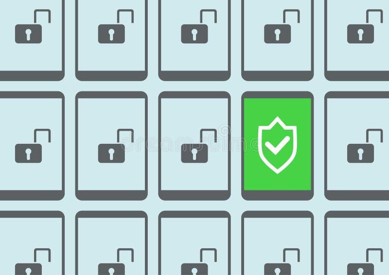 Begrepp av skydd av en smart telefon via virusscanning och inhoppupptäckt för att förhindra att hacka av mobila enheter stock illustrationer