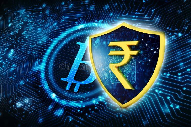 Begrepp av skydd för indisk rupie äganderätt för home tangent för affärsidé som guld- ner skyen till 3d framför royaltyfri illustrationer