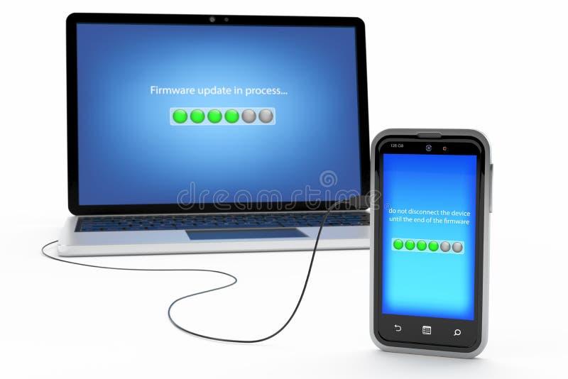 Begrepp av smartphoneoperativsystemuppdateringarna stock illustrationer