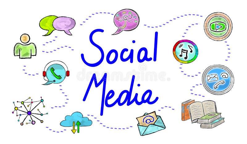 Begrepp av socialt massmedia royaltyfri illustrationer