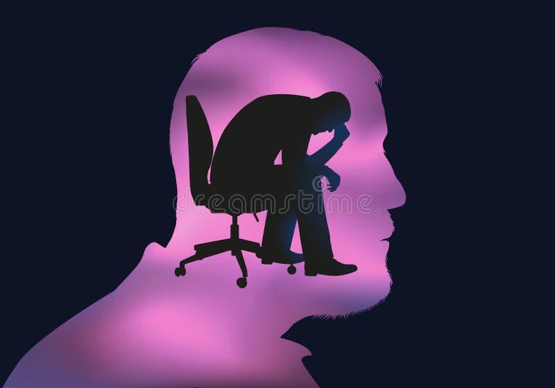 Begrepp av spänningen med den deprimerade mannen som rymmer hans huvud i hans hand stock illustrationer