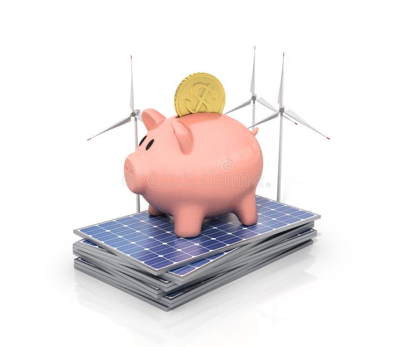 Begrepp av sparande pengar, om genom att använda sol- energi arkivbild