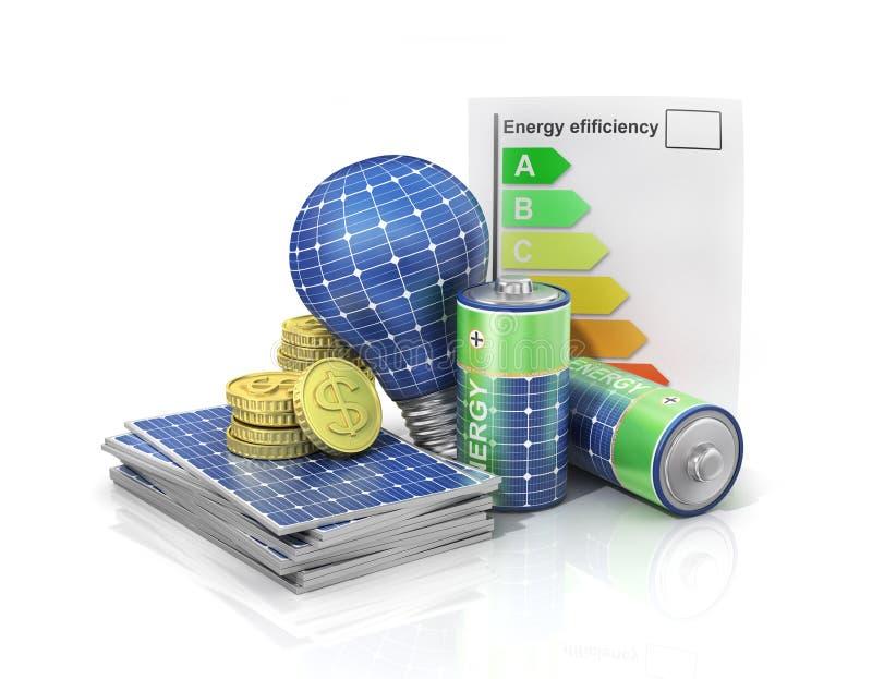 Begrepp av sparande pengar om sol- energi för bruk arkivfoto