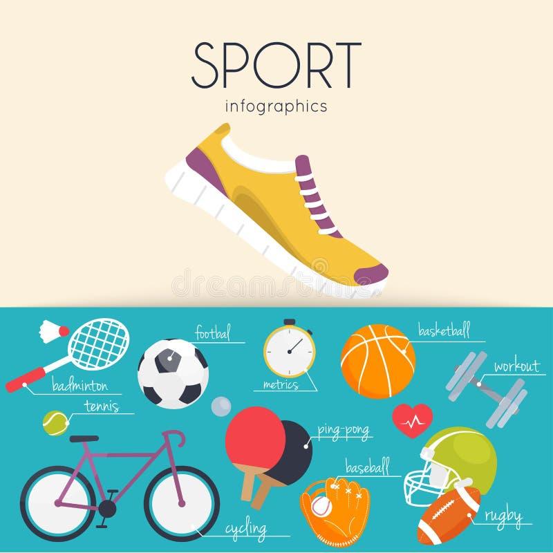 Begrepp av sportinfographicsen Symboler för rengöringsduk: kondition sportequ royaltyfri illustrationer