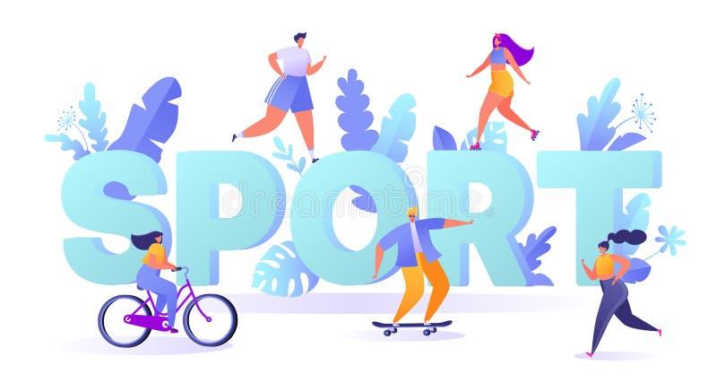Begrepp av sportmotivationen Aktiviteter för utomhus- sportar för sommar royaltyfri illustrationer