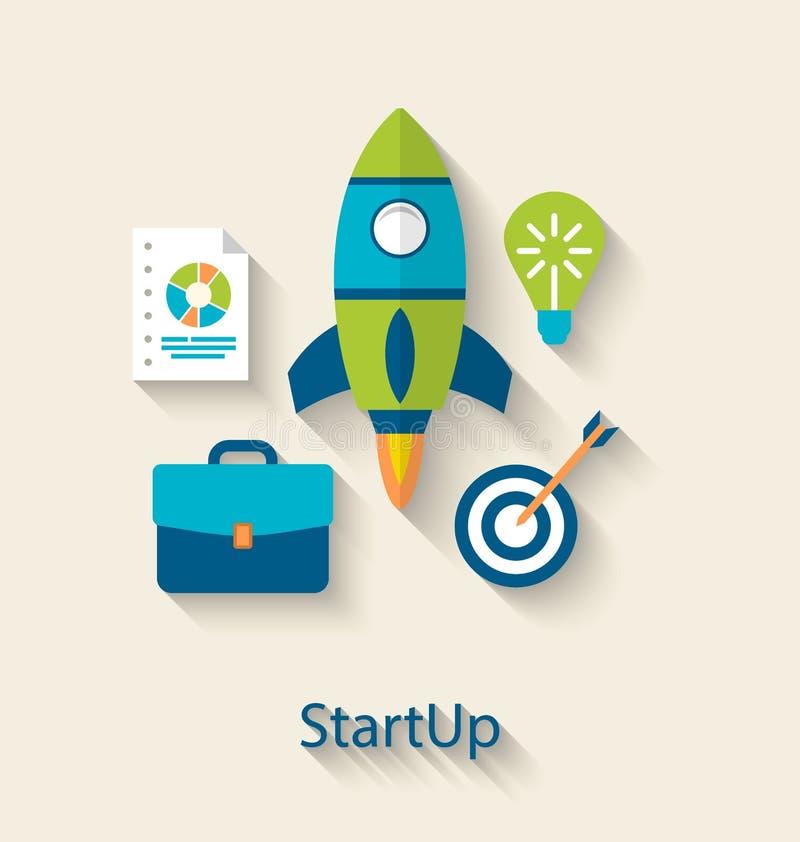 Begrepp av startup utveckling för nytt affärsprojekt, plana symboler royaltyfri illustrationer