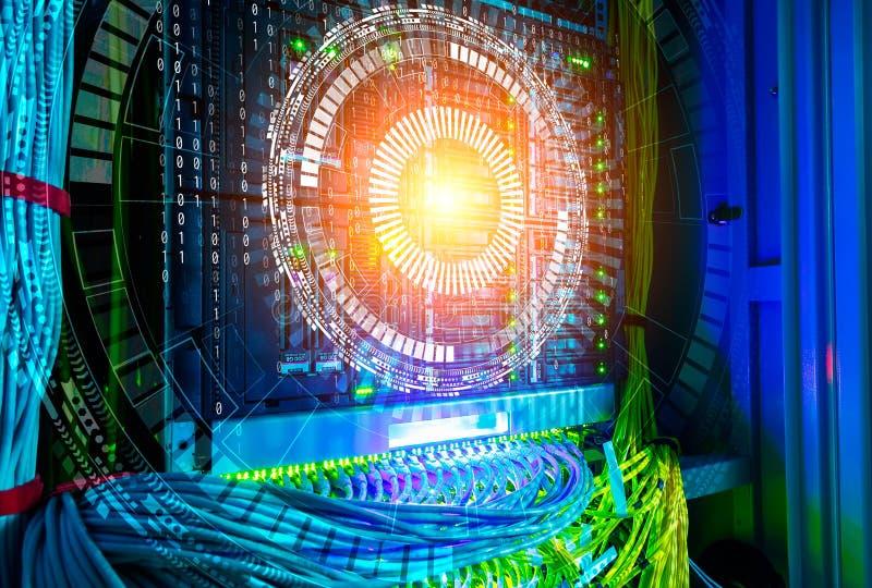 Begrepp av stora data Hologramteknologibakgrund över värddatoren med kablar i kablar för nätverksströmbrytare och UTP Ethernet stock illustrationer