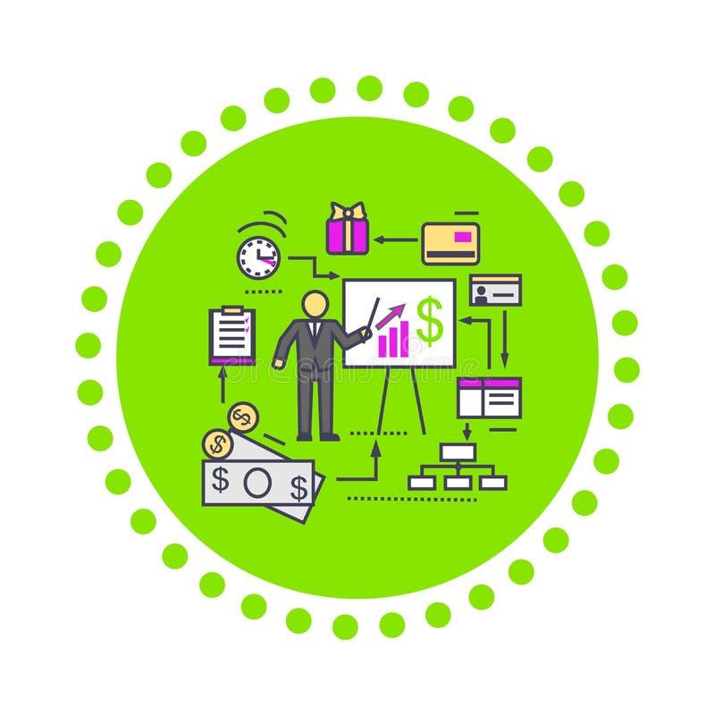 Begrepp av symbolslägenheten för finansiell analys stock illustrationer