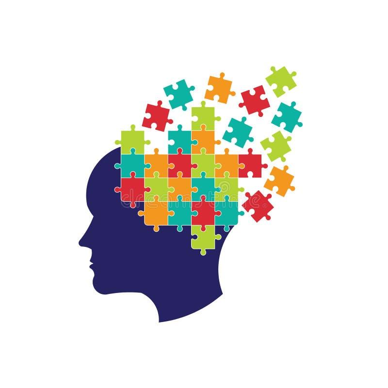Begrepp av tanke som löser hjärnlogo stock illustrationer