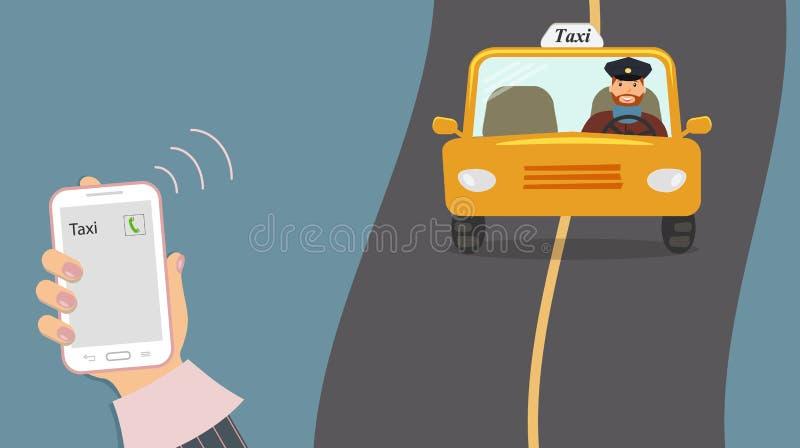 Begrepp av taxiservice Mobiltelefon i gullig kvinnlig hand med en taxiappell på skärmen Den gula taxin med en taxichaufför rider  vektor illustrationer
