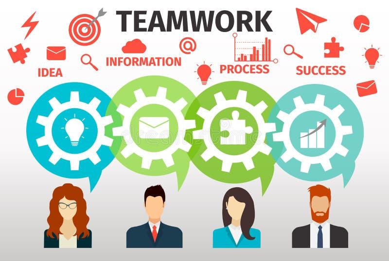 Begrepp av teamwork för rengöringsduk och infographic stock illustrationer