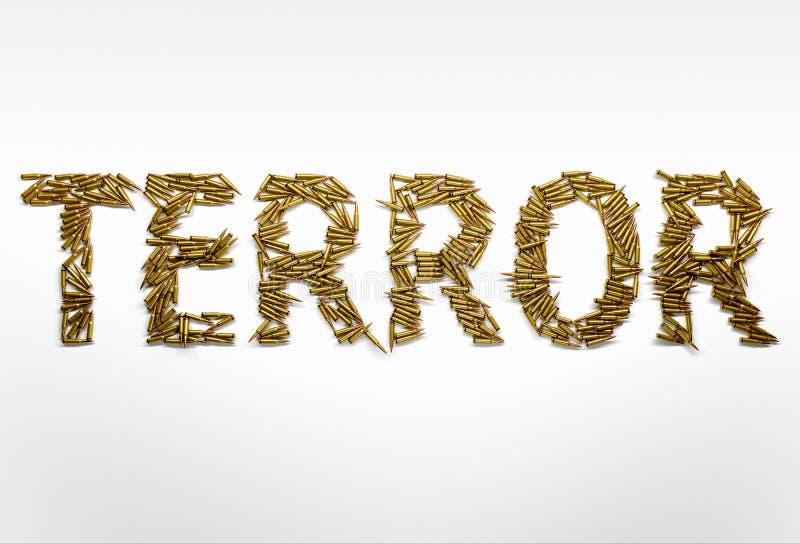 Begrepp av terrorism Uttrycka skräcken som skrivas med stilsorten som göras av kula royaltyfri fotografi