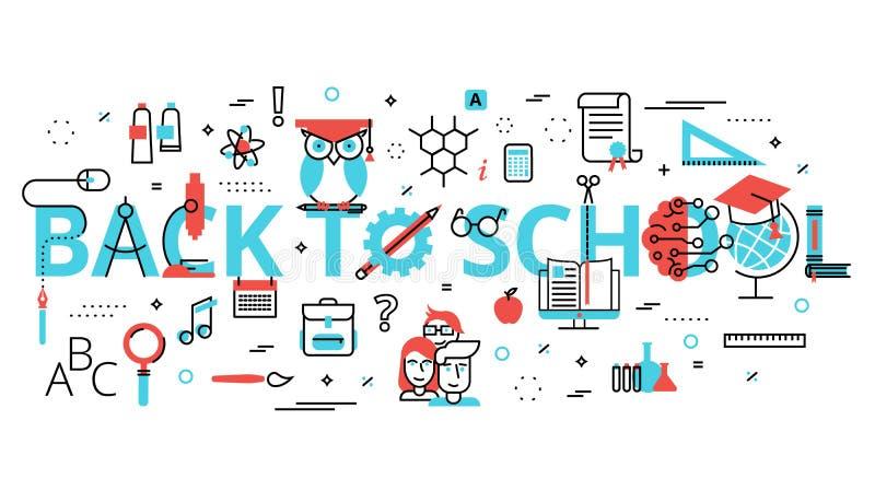 Begrepp av utbildning med ord tillbaka till skolan stock illustrationer