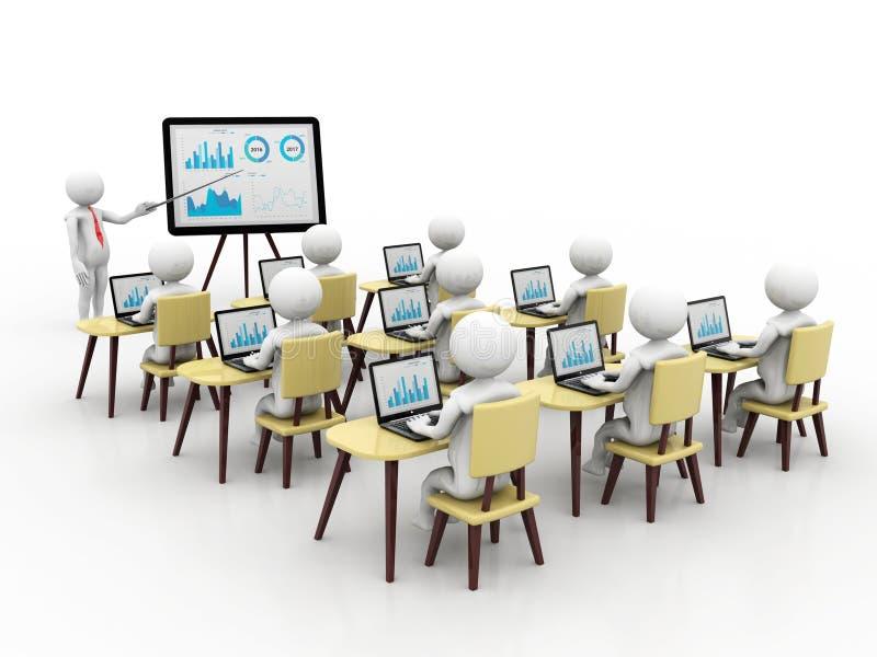 Begrepp av utbildning och att lära, presentation Isolerad vit bakgrund, 3d framför royaltyfri illustrationer