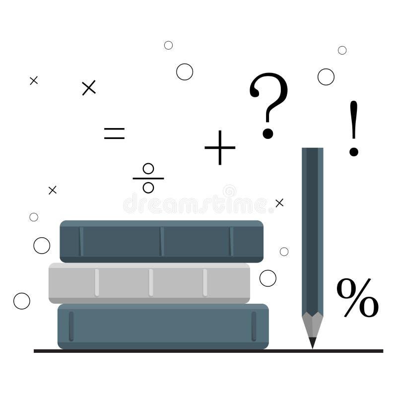 Begrepp av utbildning, studiekurs, bunt av b?cker, blyertspenna P? en vit bakgrund med matematiska symboler bl? vektor f?r sky f? vektor illustrationer