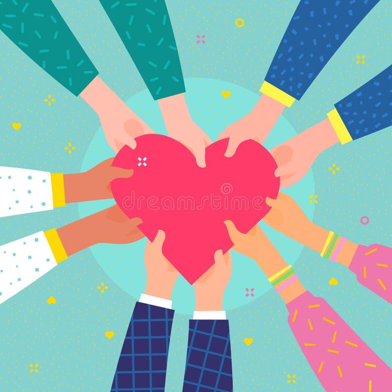 Begrepp av välgörenhet och donation Flera personer rymmer hjärtan stock illustrationer