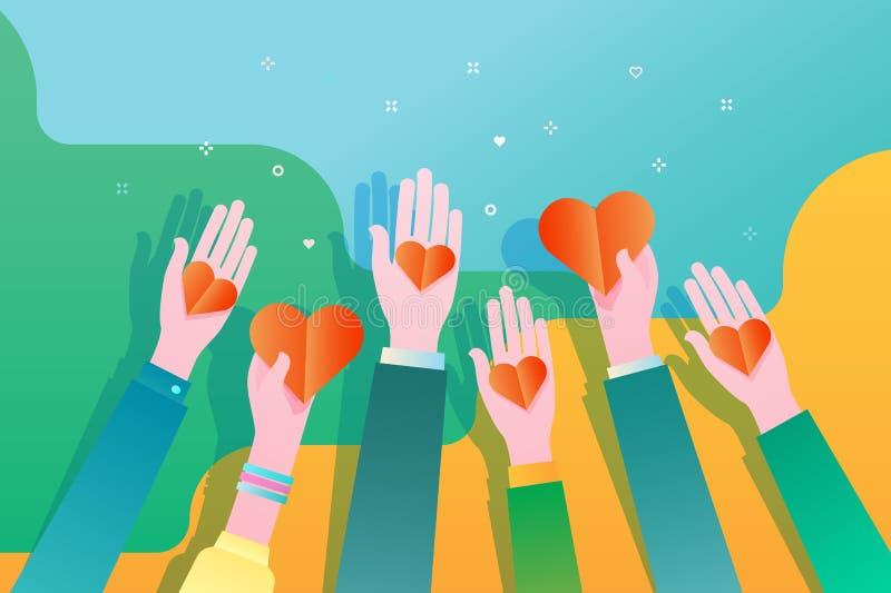 Begrepp av välgörenhet och donation Ge och dela din förälskelse till folk hands hjärtaholdingsymbol stock illustrationer