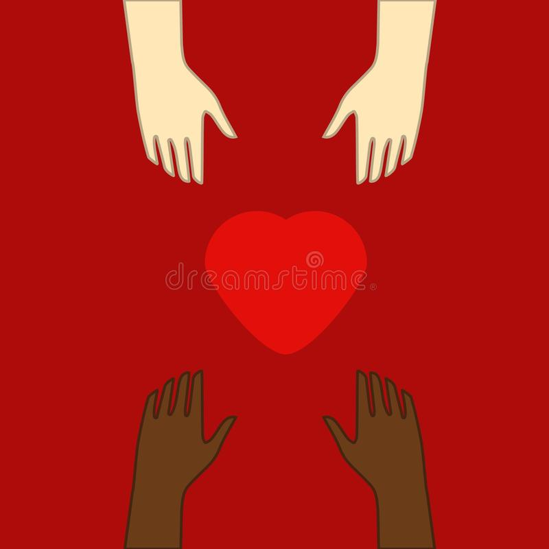 Begrepp av v?lg?renhet och donation Ge och dela din f?r?lskelse till folk Flera personer rymmer stor hjärtasynbol på deras händer royaltyfri illustrationer