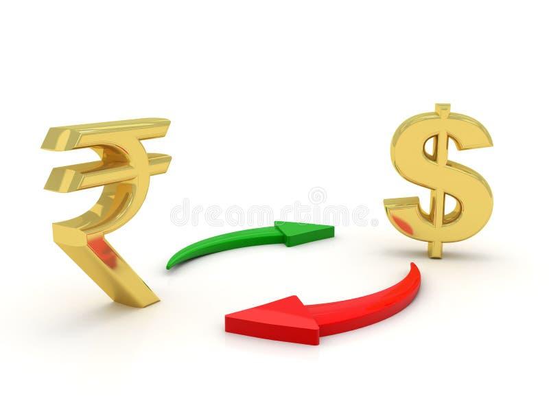 Begrepp av valuta som konverterar med den indiska rupien och dollaren i vit bakgrund 3d framför royaltyfri illustrationer