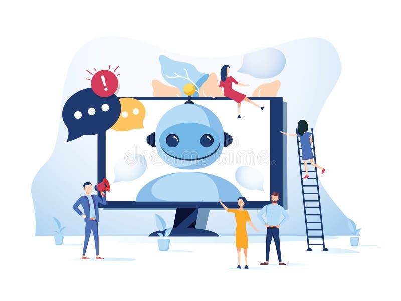 Begrepp Chatbot och framtida marknadsföra begrepp, service för webbsidan, socialt massmedia Vektorillustration som pratar med bot stock illustrationer