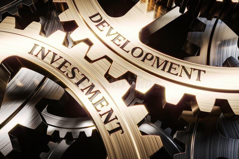 Begrepp 3d för investering- och utvecklingskugghjulmekanism stock illustrationer