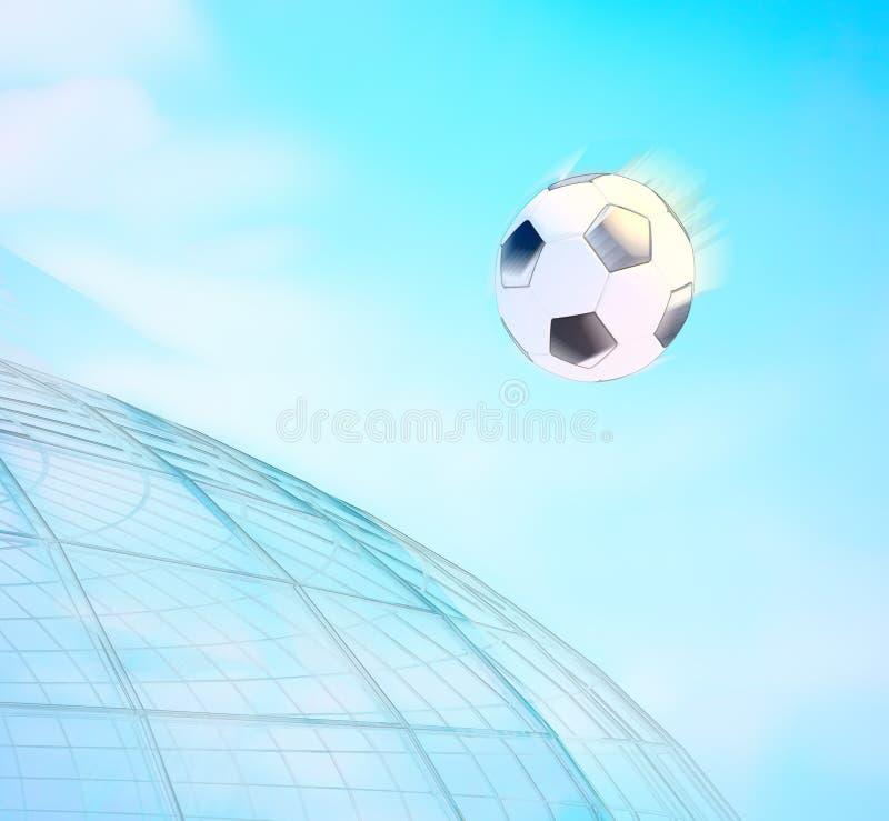Begrepp eller begreppsmässig boll för fotboll 3D in med en backgrou för blå himmel royaltyfri fotografi