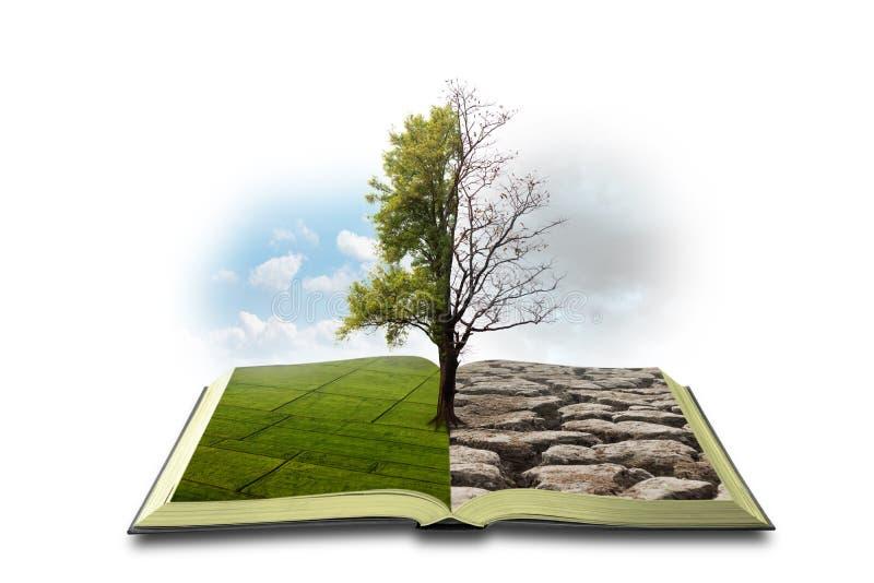 Begrepp en öppen bok Bipolarity P? en sida, natur p? en annan smog och en torka arkivfoto