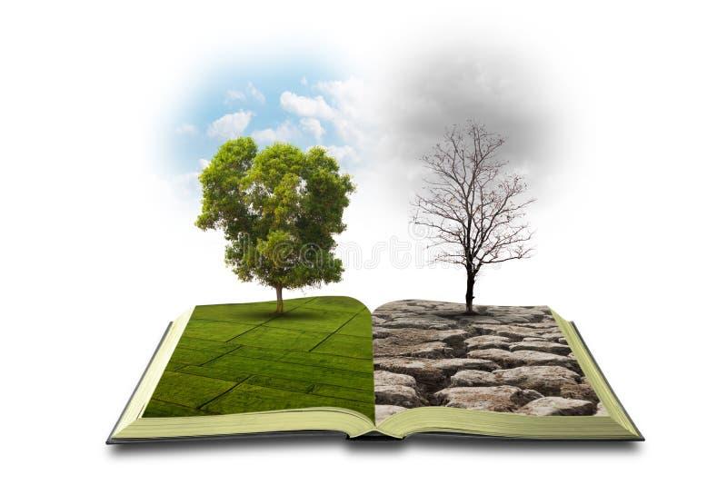 Begrepp en öppen bok Bipolarity P? en sida, natur p? en annan smog och en torka arkivbilder