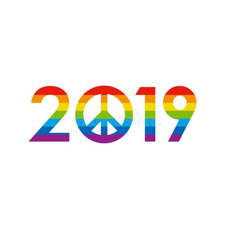 Begrepp 2019 - färgad regnbåge för nytt år royaltyfri illustrationer