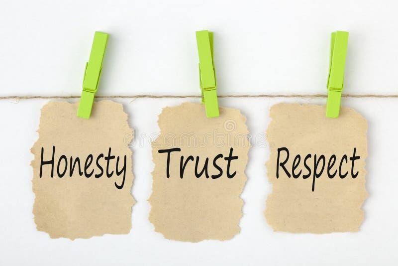 Begrepp för ärlighetförtroenderespekt arkivfoton