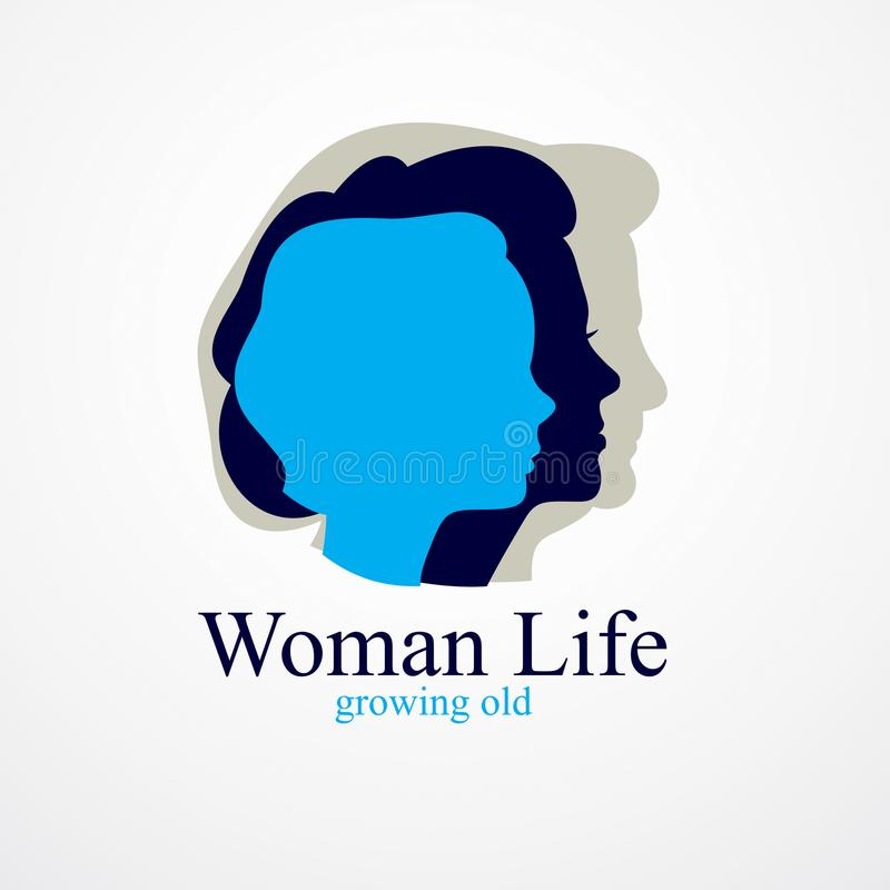 Begrepp för år för kvinnalivålder, tiden av liv, perioder och cycl royaltyfri illustrationer