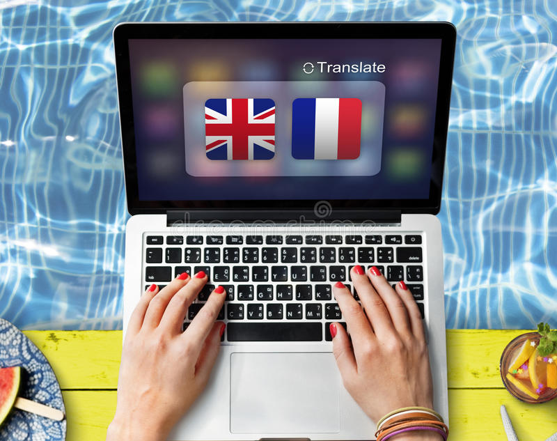 Begrepp för översättning för utländskt ord för flaggaländer arkivfoton