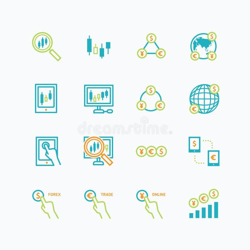 Begrepp för översikt för affärsfinansonline-handel forexvektor stock illustrationer