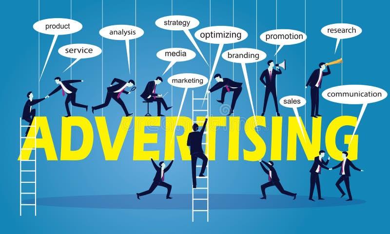 Begrepp för advertizing för affärsmarknadsföringsteamwork royaltyfri illustrationer