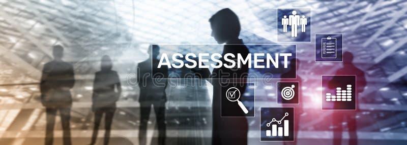 Begrepp för affär och för teknologi för analys för Analytics för bedömningutvärderingsmått på suddig bakgrund royaltyfri illustrationer