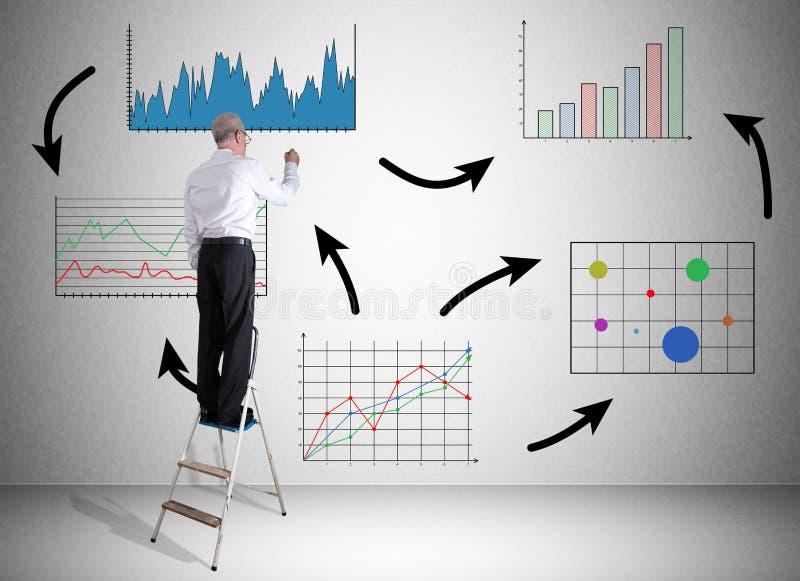Begrepp för affärsanalys som dras av en man på en stege arkivbilder