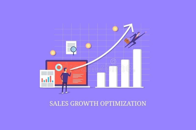 Begrepp för affärsförsäljningstillväxt, yrkesmässig affär och marknadsföringsexpert, stigande försäljningar graf, tillväxtoptimiz vektor illustrationer